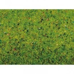 N00270 Feutrine herbe vert fleuri 120cm x 60cm