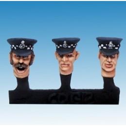 Têtes de policiers en casquette
