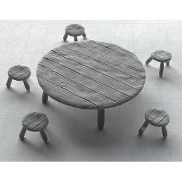Table ronde + tabourets