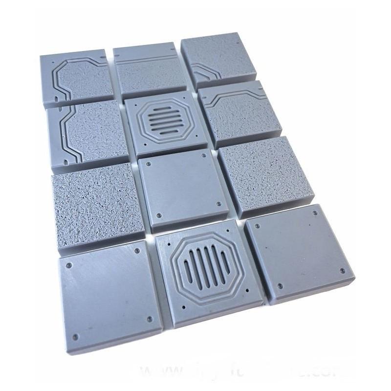 Dalles métalliques pour sol futuriste/industriel