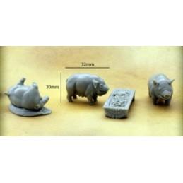 Porcs avec auge