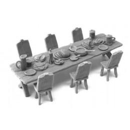 Table longue d'auberge, de festin