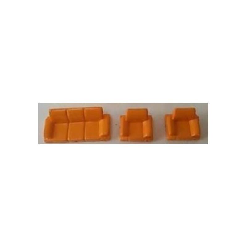 Set 1 canapé et 2 fauteuils orange