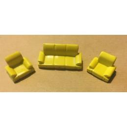 Set 1 canapé et 2 fauteuils jaunes