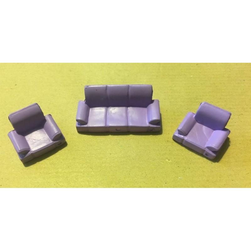 Set 1 canapé et 2 fauteuils violets