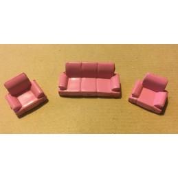 Set 1 canapé et 2 fauteuils rose