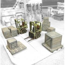 Mini-chariots avec caisses et palettes