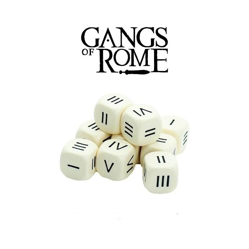 Dés à 6 faces numérotés en chiffres romains
