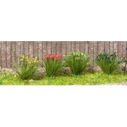 Touffes d'herbe XL (12cm) vertes + fleuries 92 pièces