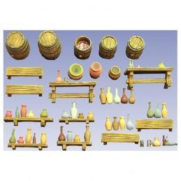 Accessoires d'auberge (tonneaux, bancs, etc. en résine)