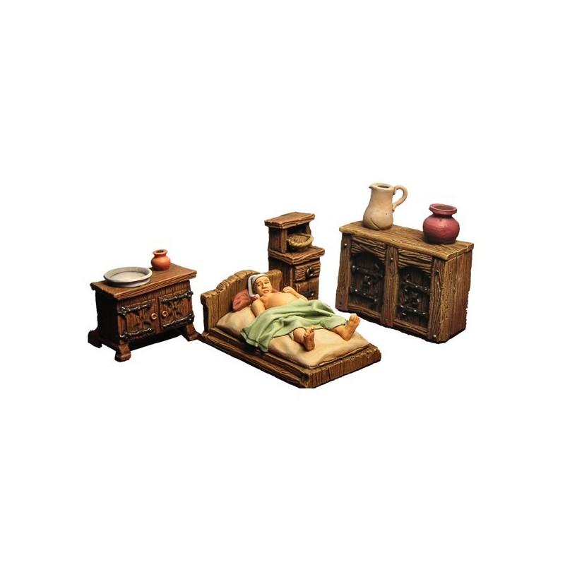 Accessoires chambre médiévale 8 éléments en résine