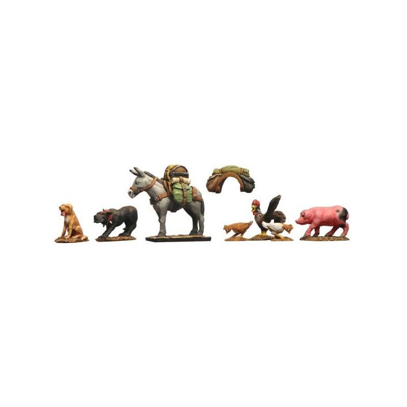 Animaix domestiques 28mm (1/56) 7 figurines en résine