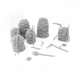 Meules de foin et outils agricoles
