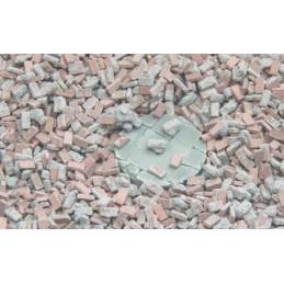 25028 débris de brique avec du mortier