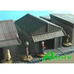 Cabane en bois avec toit en pente