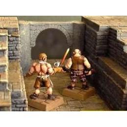 Mur avec arche et piliers