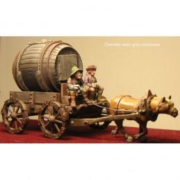 Charette médiévale avec gros tonneau