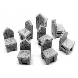 Chaises rustiques en bois (8)