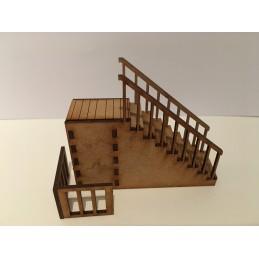Escaliers avec palier à 4cm