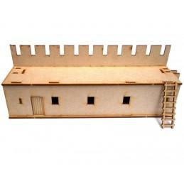 Long mur avec porte