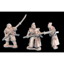 Samouraïs sans armure avec naginata